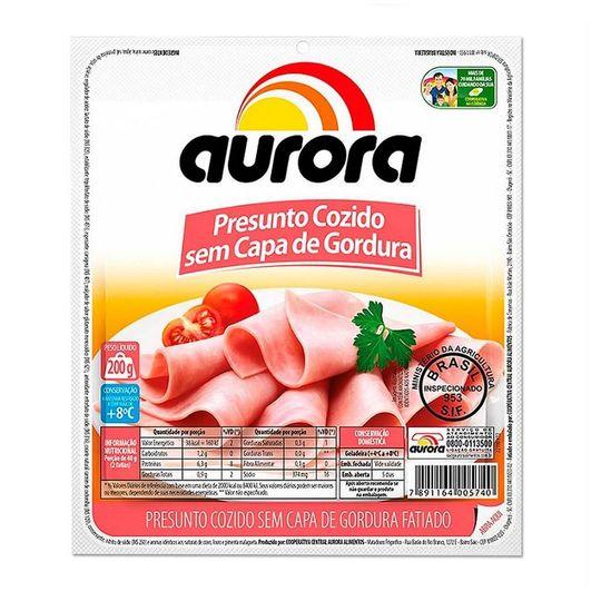 PRESUNTO SEM GORD COZIDO AURORA FATIADO 200G